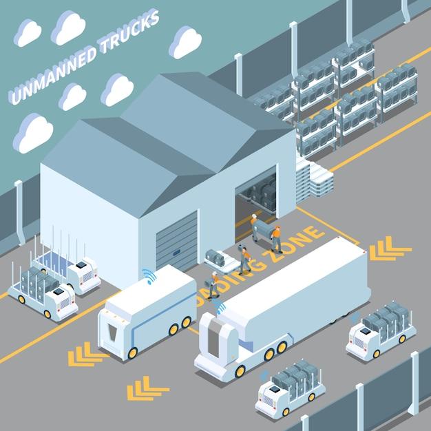 Estacionamiento isométrico de vehículos autónomos vector gratuito