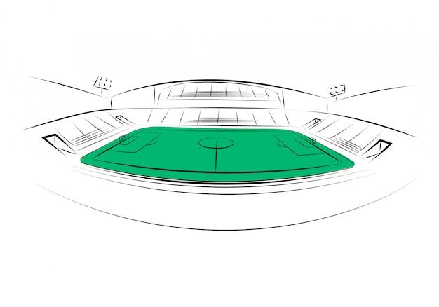 Estadio deportivo sobre fondo blanco. dibujado a mano. ilustración vectorial Vector Premium