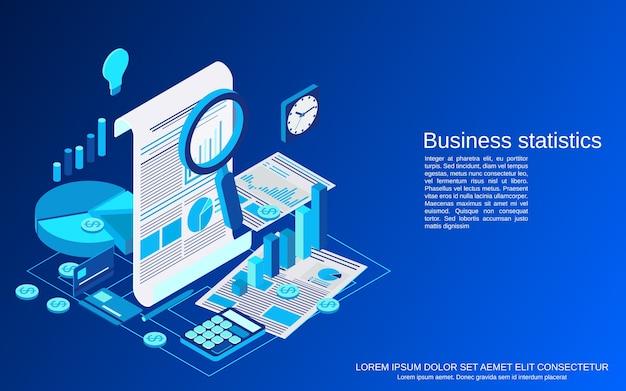 Estadísticas comerciales, ilustración del concepto isométrico del informe financiero Vector Premium