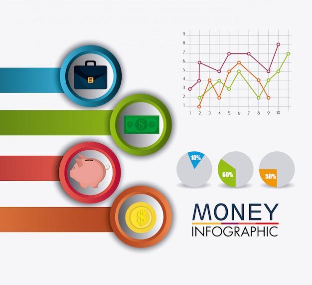 Estadísticas de crecimiento del negocio y ahorro de dinero. vector gratuito