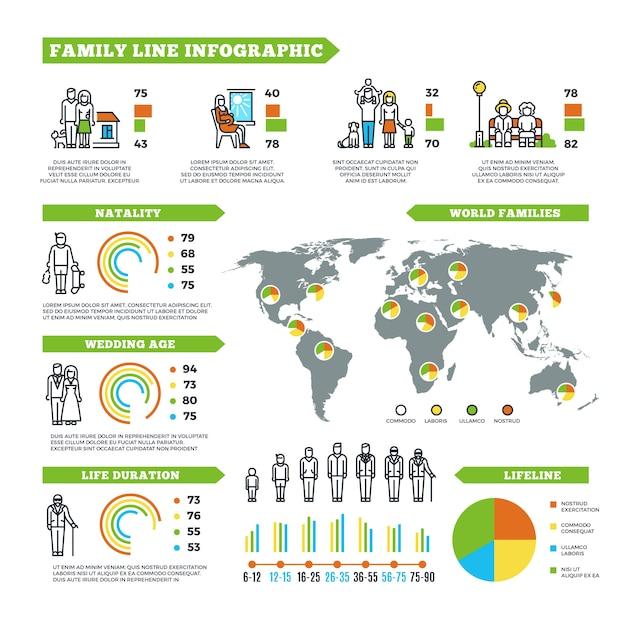 Estadísticas familiares vector infografía Vector Premium