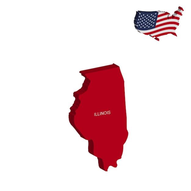 Estados Unidos Mapa De Illinois Con Bandera Mapa De Estados - Mapa de illinois