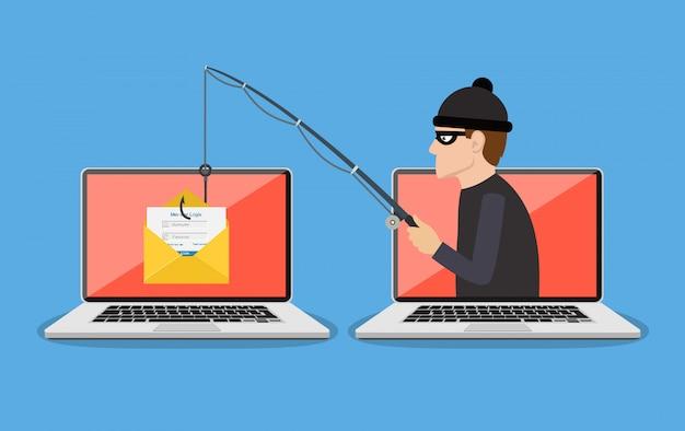 Estafa de phishing, ataque de hackers Vector Premium
