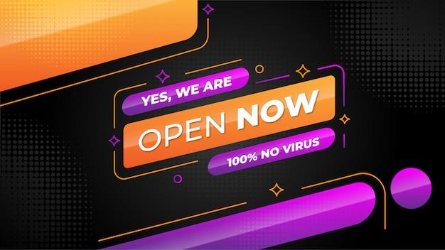 Estamos abiertos ahora banner vector gratuito