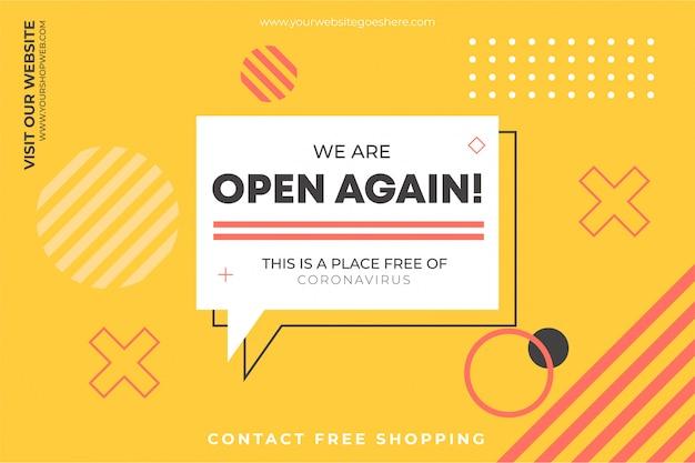 Estamos abiertos de nuevo plantilla de fondo vector gratuito