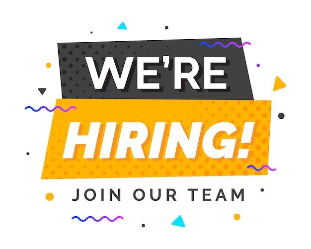 Estamos contratando banner de diseño de reclutamiento Vector Premium