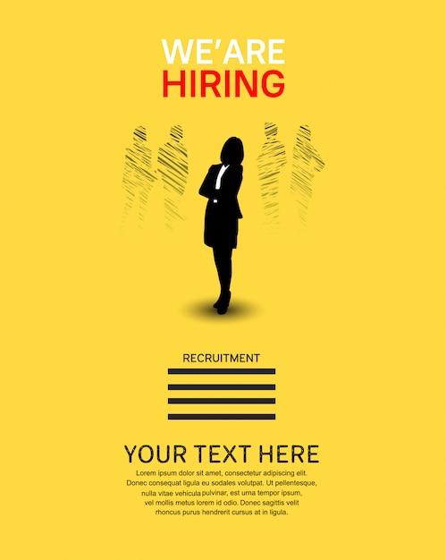 Estamos contratando cartel de trabajo con silueta de mujer. Vector Premium