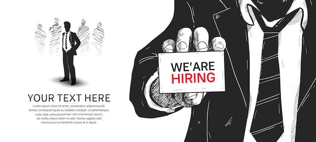 Estamos contratando diseño dibujado a mano ilustración póster. Vector Premium