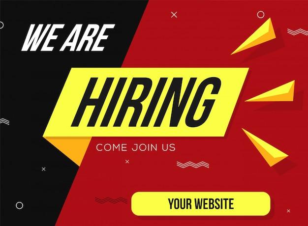 Estamos contratando con formas geométricas. contratación de cartel de diseño de contratación. Vector Premium