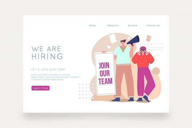 Estamos contratando landing page con ilustración. vector gratuito