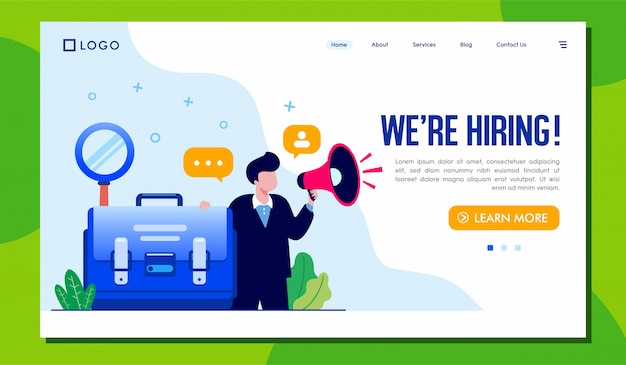 Estamos contratando el sitio web de la página de destino Vector Premium