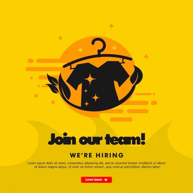 Estamos contratando, únete a nuestro equipo, plantilla de banner con ilustración de lavandería. Vector Premium