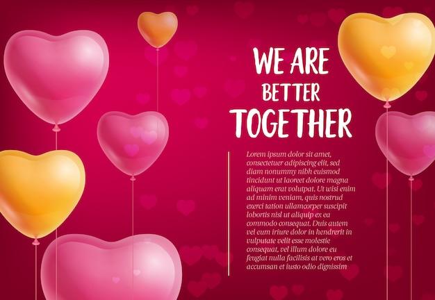 Estamos mejor juntos letras, globos en forma de corazón vector gratuito