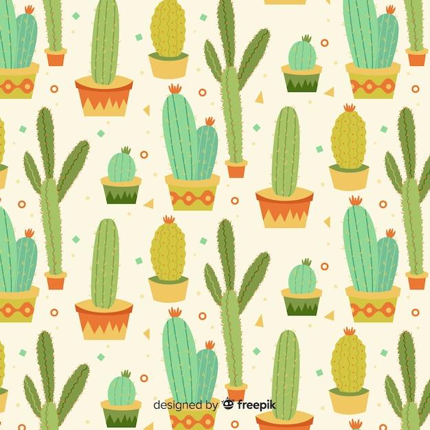 Estampado de cactus en diseño plano vector gratuito