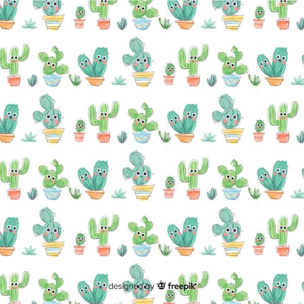 Estampado de cactus Vector Premium