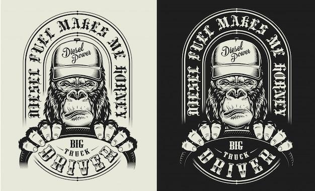 Estampado de camiseta con concepto de gorila vector gratuito