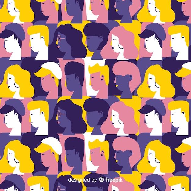 Estampado colorido de personas jóvenes en diseño plano vector gratuito