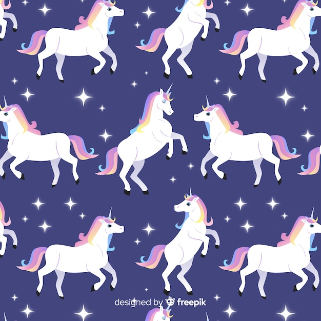 Estampado colorido de unicornios adorables en diseño plano vector gratuito
