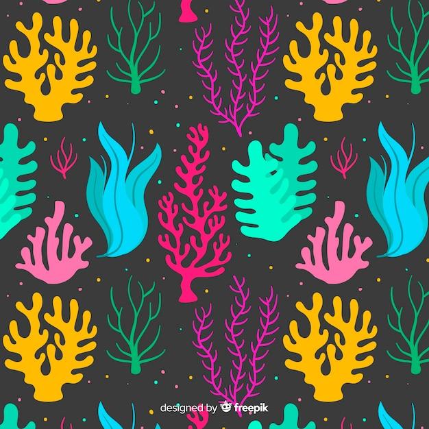 Estampado de corales dibujado a mano vector gratuito