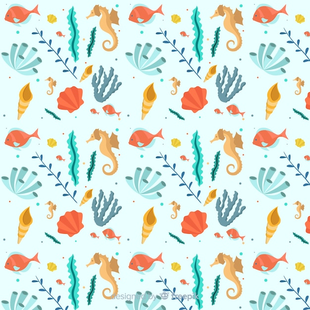 Estampado de corales en diseño plano vector gratuito