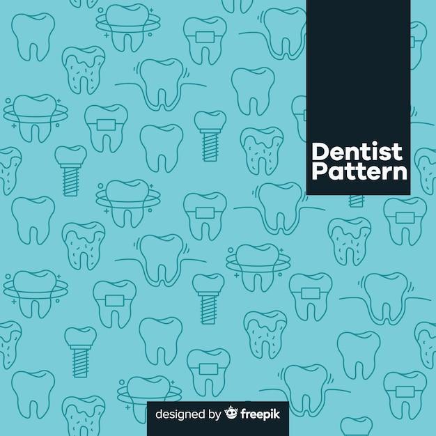 Estampado de dentista en diseño plano vector gratuito