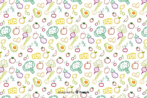 Estampado dibujado de frutas y verduras vector gratuito