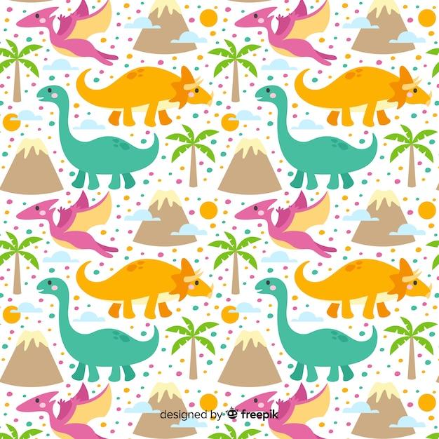 Estampado de dinosaurios en diseño plano vector gratuito