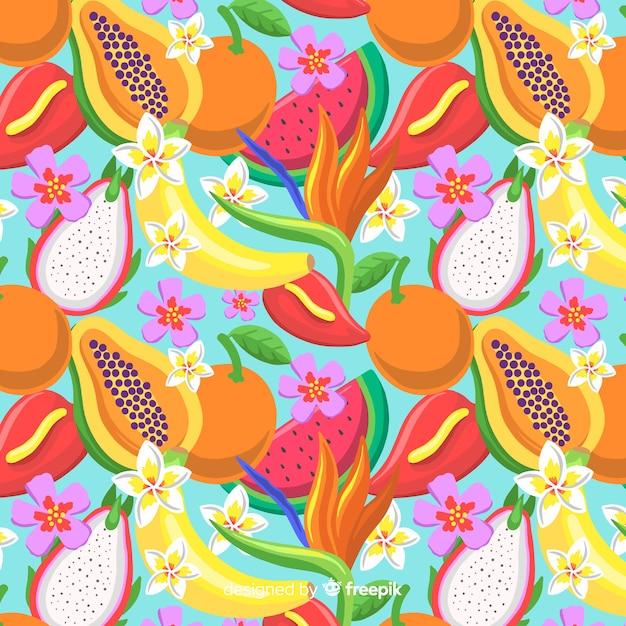 Estampado de fruta tropical vector gratuito