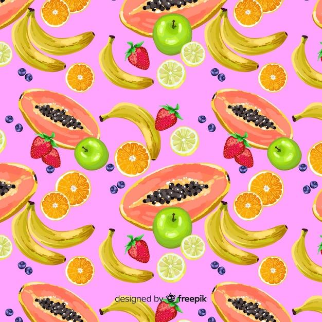 Estampado de frutas tropicales vector gratuito