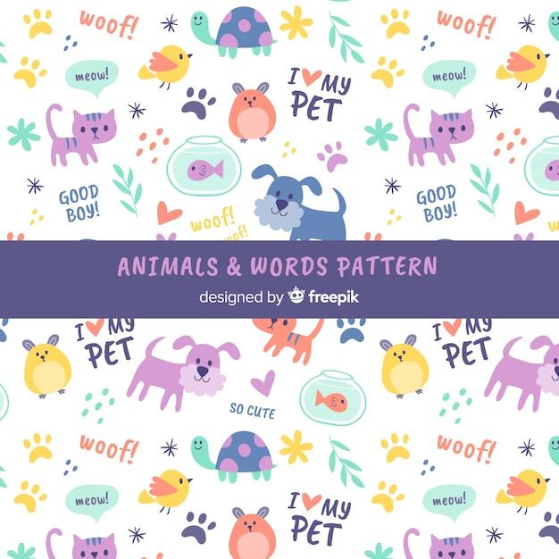 Estampado de garabatos de animales y palabras vector gratuito