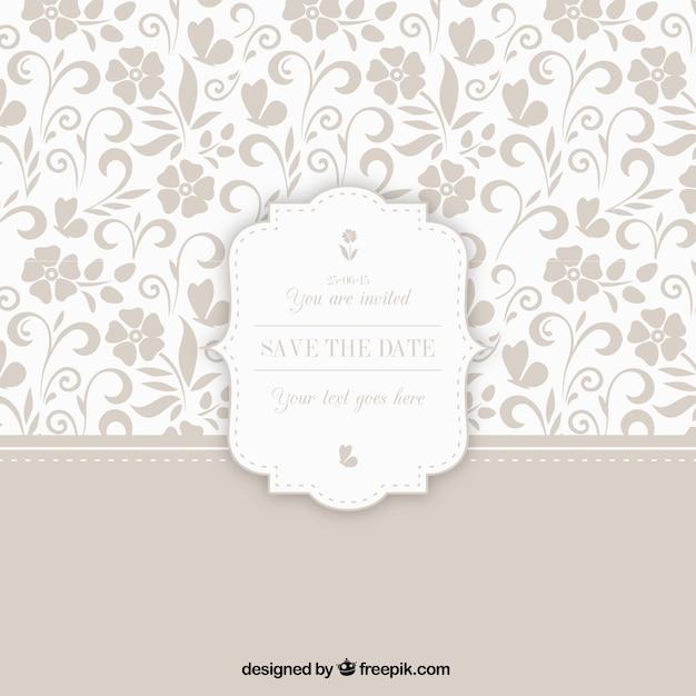 Estampado ornamental con la insignia de la boda Vector Premium