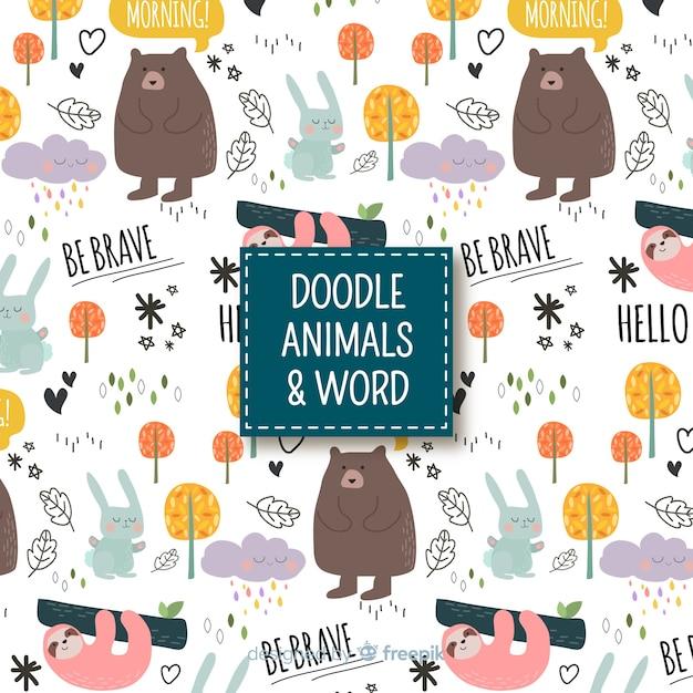 Estampado de palabras y animales vector gratuito