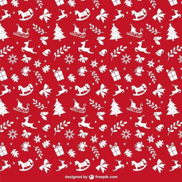 Estampado rojo y blanco de navidad vector gratuito