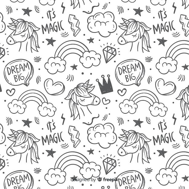 Estampado de unicornio dibujado a mano vector gratuito