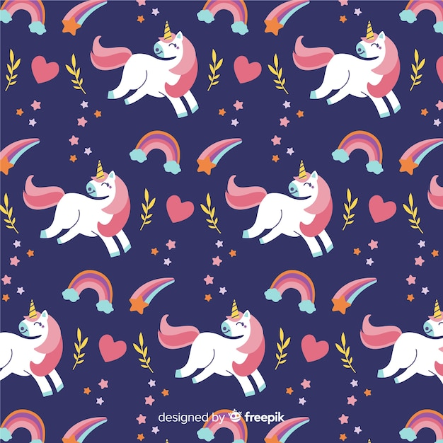 Estampado de unicornios adorables dibujados a mano vector gratuito
