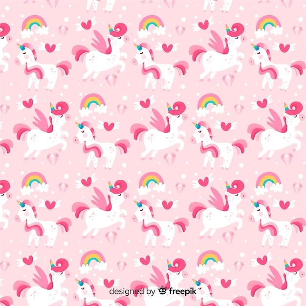 Estampado de unicornios en diseño plano vector gratuito