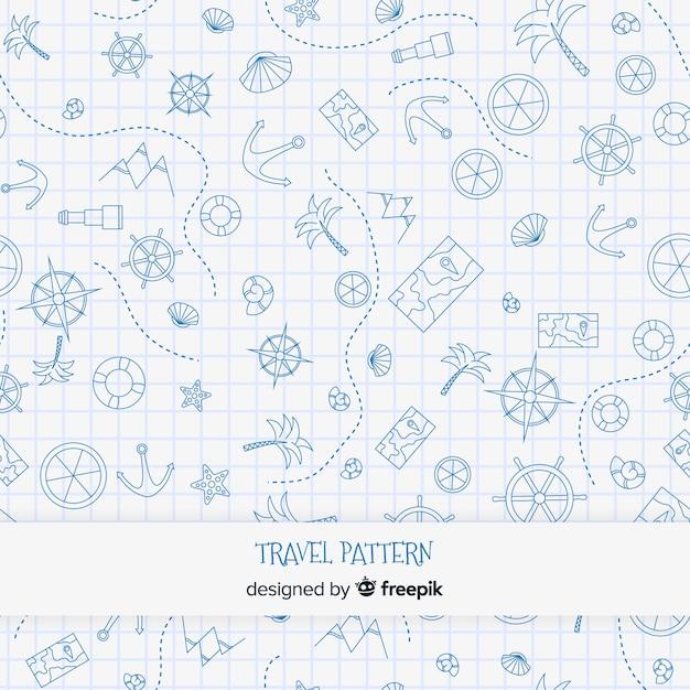 Estampado de viaje con elementos y líneas de trazos vector gratuito