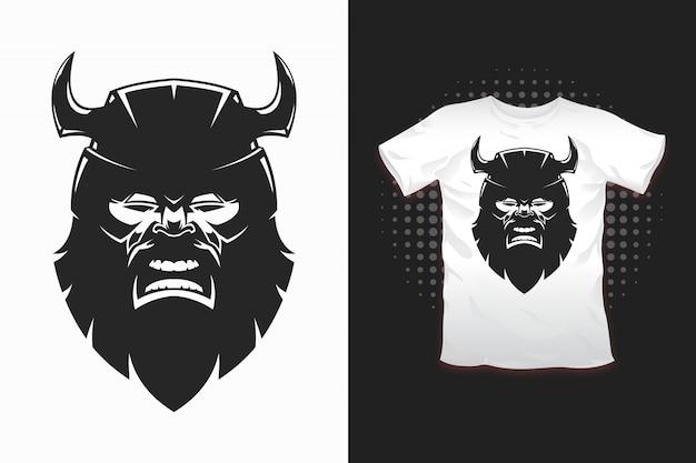 Estampado vikingo para diseño de camiseta. Vector Premium