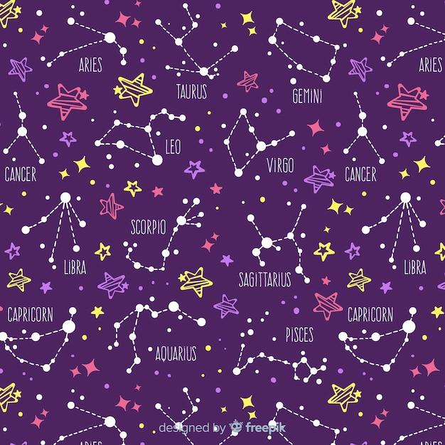 Estampado del zodiaco vector gratuito
