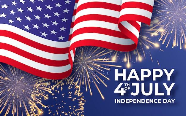 Estandarte con bandera nacional estadounidense y fuegos artificiales. Vector Premium