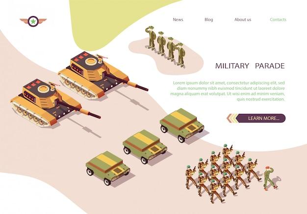 Estandarte del desfile militar con ejército y base de esqueleto. Vector Premium