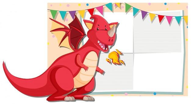 Un estandarte de dragón rojo. vector gratuito