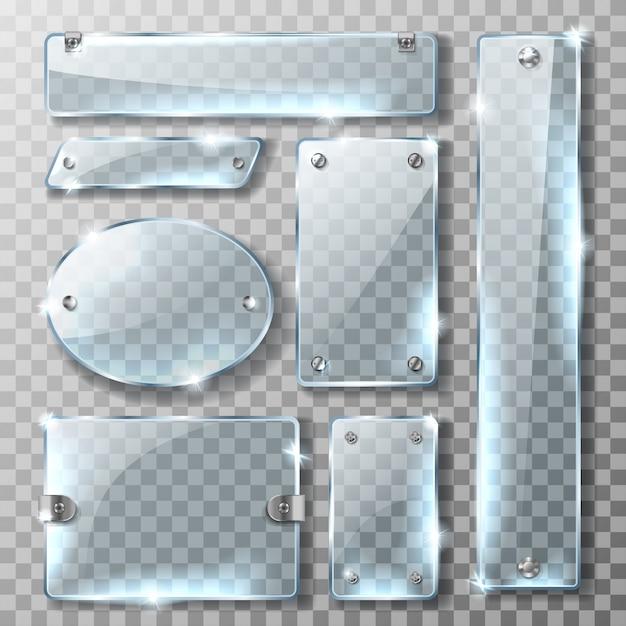 Estandarte de vidrio con soporte de metal y tornillos. vector gratuito