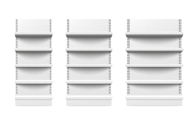 El estante al por menor del estante vacío aisló tres pedazos diferentes del tamaño. Vector Premium