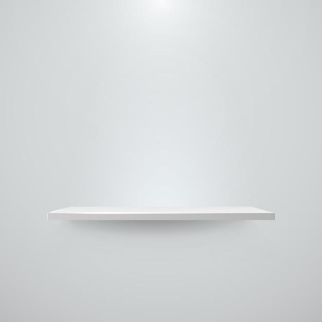 Estante con luz y sombra en la pared blanca vacía. ilustración Vector Premium