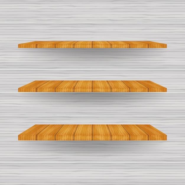 Estante de la tienda blanco vacío, estantes al por menor del marco de madera contrachapada Vector Premium