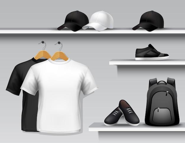 Estante de la tienda de ropa deportiva vector gratuito