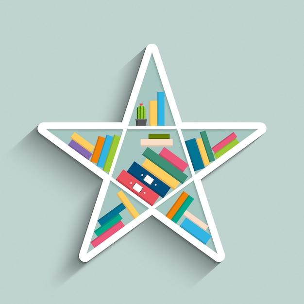 Estantería en forma de estrella con libros coloridos | Descargar ...