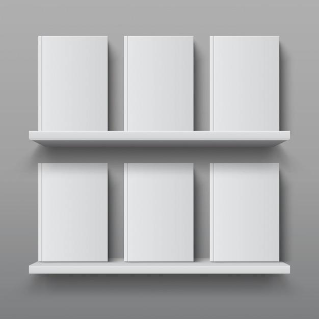 Estantería realista con libros. maqueta de estante de biblioteca, estantería de oficina moderna, plantilla de estante de pared de madera contrachapada Vector Premium