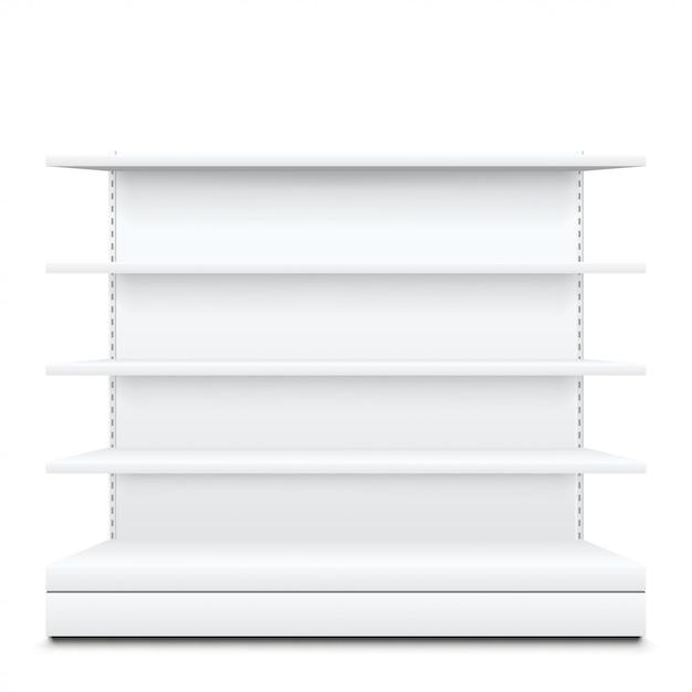 Estantes blancos sobre blanco Vector Premium